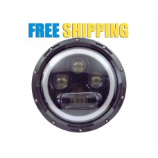 "Harley Style 7"" CREE USA LED Headlight with Angel Eye - 60/30w for Jeep Royal Enfield & Other 7 inch Headlights"